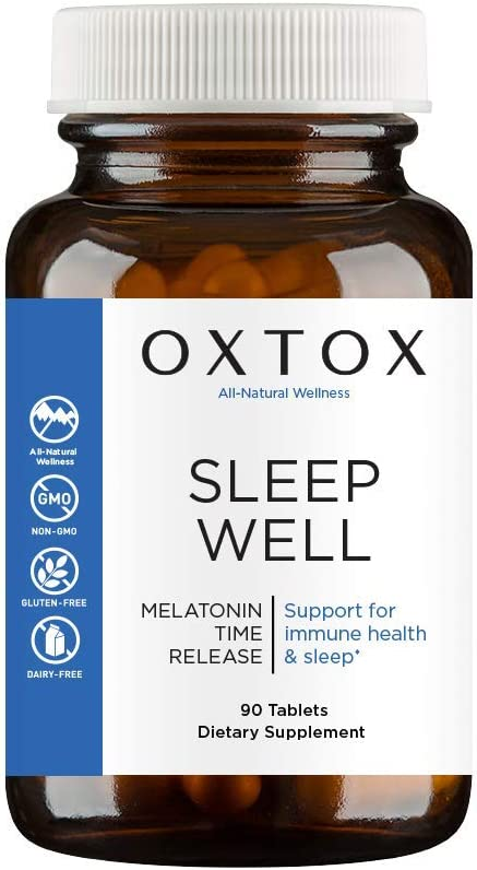 Sleep Well, Time Release Melatonin with Rapid Release Outer Coating, Support for Falling Asleep & Staying Asleep, Vitamin B-6 Supports Serotonin and Mood