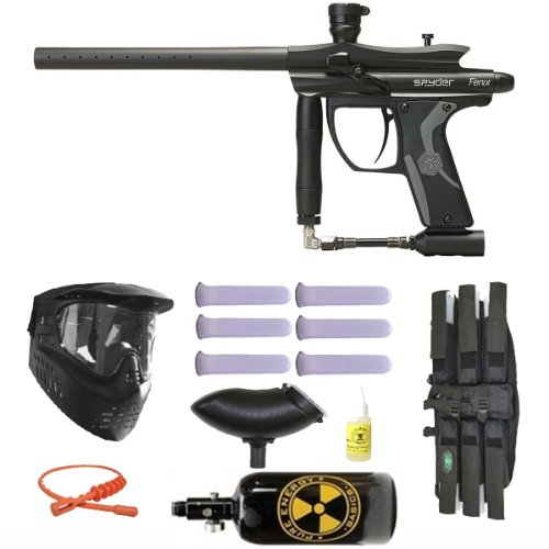 Spyder Fenix Electronic Paintball Marker Gun 3Skull N2 Mega Set - Diamond Black