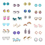 24 Pairs Cute Animals Hypoallergenic Stud earrings sets for kids Little Girls Unicorn