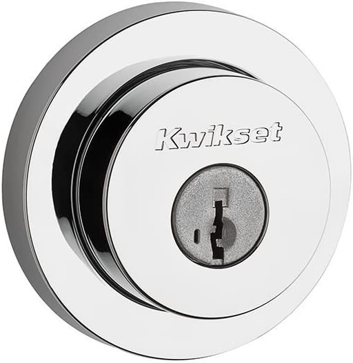 Kwikset 91590-004 Milan Round Double Cylinder Deadbolt Featuring SmartKey in Polished Chrome