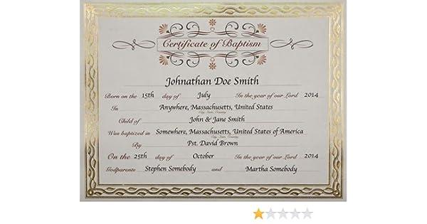 amazon com baptism certificate baby