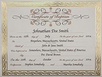 baptisim certificate  Amazon.com : Baptism Certificate : Baby
