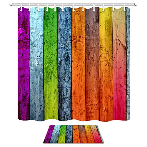 Wallpaper Wooden Shower Curtain, Colour Rustic Board Planks Farm House Country Bath Curtains, 69X70in Mildew Resistant Fabric Curtains for Bathroom 15.7x23.6in Flannel Non-Slip Floor Doormat Bath -