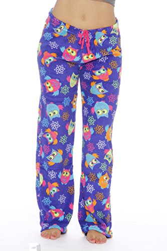Just Love Women's Plush Pajama Pants, Large, Owl Deco