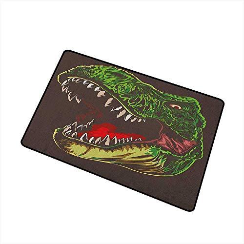 Sillgt Dinosaur Doormat Aggressive Wild T Rex Head Colorful Hand Drawn Style Jurassic Period Non Toxic Rug 20