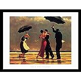 "Buyartforless Framed The Singing Butler by Jack Vettriano Art Print Romantic Dancing with Umbrellas, 34"" X 26"""