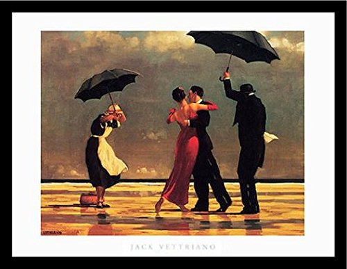 - Buyartforless Framed The Singing Butler by Jack Vettriano Art Print Romantic Dancing with Umbrellas, 26.5