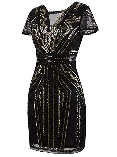 Vijiv 1920s Short Prom Dresses V Neck Inspired Sequins Cocktail Flapper Dress,Large,Gold Glam