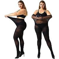 MANZI Women's 2-4 Pairs Control Top Plus Size High Waist Pantyhose Tights