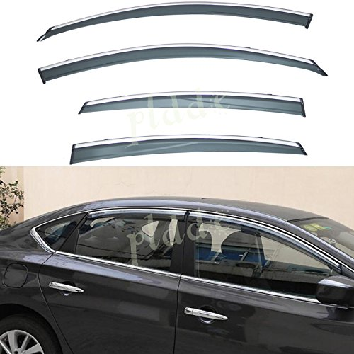PLDDE 4pcs Smoke Tint With Chrome Trim Outside Mount Tape On/Clip On Style PVC Sun Rain Guard Window Visors Fit 13-18 Nissan Altima 4-Door Sedan (2018 Nissan Altima Rain Guards)