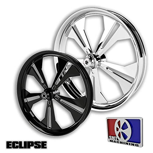SMT Machining 21 Black Contrast Cut Eclipse Wheel for 2008-2018 Harley Bagger Models with 11.8