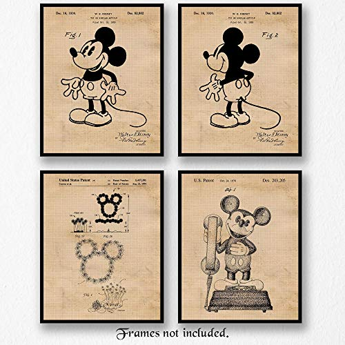 Original Mickey Mouse Patent Vintage Style Art Poster Print- Set of 4 (Four Photos) 8x10 Unframed- Great Wall Art Decor Gifts Under $20 for Home, Office, Garage, Man Cave, Teacher, Walt Disney Fan