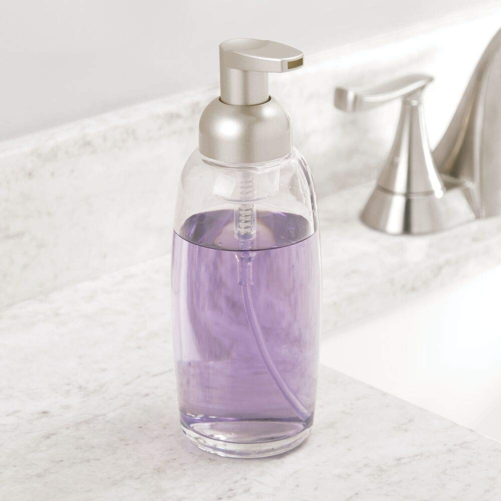 Each with 355 ml Capacity Set of 2 with Pump Head Made of Robust Plastic Clear Soap Dispenser mDesign Foaming Soap Dispenser Premium Glass Soap Dispenser