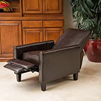 Darvis Brown Bonded Leather Recliner Club Chair Features Both a Foot Extension As Well As a Reclining Back
