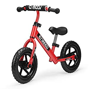 Enkeeo 12 Sport Balance Bike No Pedal Walking Bicycle with Carbon Steel Frame, Adjustable Handlebar and Seat, 110lbs Capacity for Ages 2 to 6 Years Old, Red