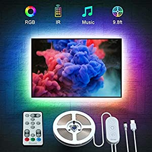 Govee TV Backlights, 9.8FT RGB TV LED Strip Lights with Remote, Music Sync TV LED Backlights with 32 Colors Multi Scene Modes, LED Lights for 46-60 inch TVs Desktop Monitor, USB Powered Seasonal Décor