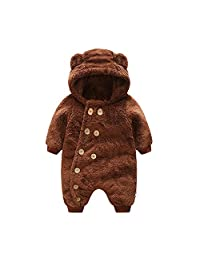 MOMOLAND Infant Baby Fleece Romper Hooded Onesie Bodysuits Outfits Playsuit Winter