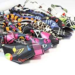 Small Pet Bow Tie Necktie Collar Adjustable Dog Teddy Cat Puppy Grooming Print Bowtie Polyester Bright Color Assorted For Wedding Party Pack of 30