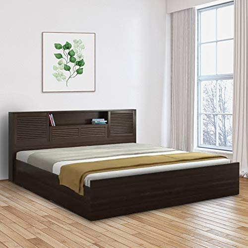HomeTown Bolton Engineered Wood Hydraulic Storage King Size Bed in Wenge Colour Beds