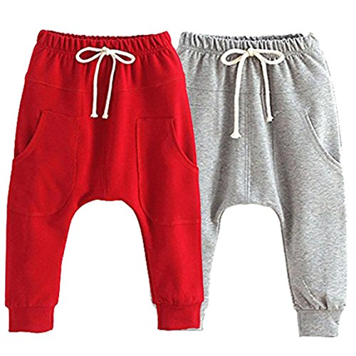Little Baby Boys Girls 2 Pack Of Cotton Hiphop Harem Pants Infant Sport Jogger 5T-6T  Pants-d by REWANGOING