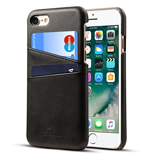 iPhone 8 Case, iPhone 7 Case Leather Card Slots Holder Slim Phone Wallet Cover By Rssviss For iPhone8 iPhone7 - Black,4.7 inch