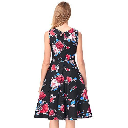 Waist Spring Sleeveless Black Summer A Print U line high Retro Dress Collar CACHOR Slim p8Awxp