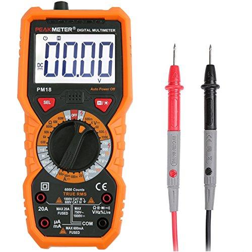 Multimeter Janisa PM18 Messgerät für Digital AC DC Spannug Strom Widerstand Kapazität Frequenz sowie Kapazitanz berührungslose Spannungsmessung Digitales Universal Voltmeter Amperemeter Ohmmeter mit hintergrundbeleuchtetem großLCD anwendbar für DIY