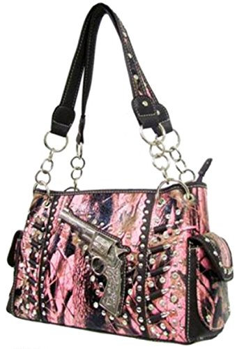 Camo Western Revolver Bullets Concealed Weapon Bag Gun Pocket Purse (Pink Brown) by scarlettsbags