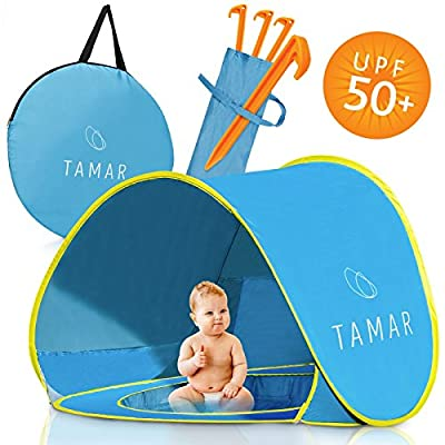 Tamar Baby Beach Tent : Toddlers and Tots Blue Pop-Up Sun Shelter with Mini Pool and Detachable Shade, Lightweight, 50 SPF UV Protection with Carry Bag