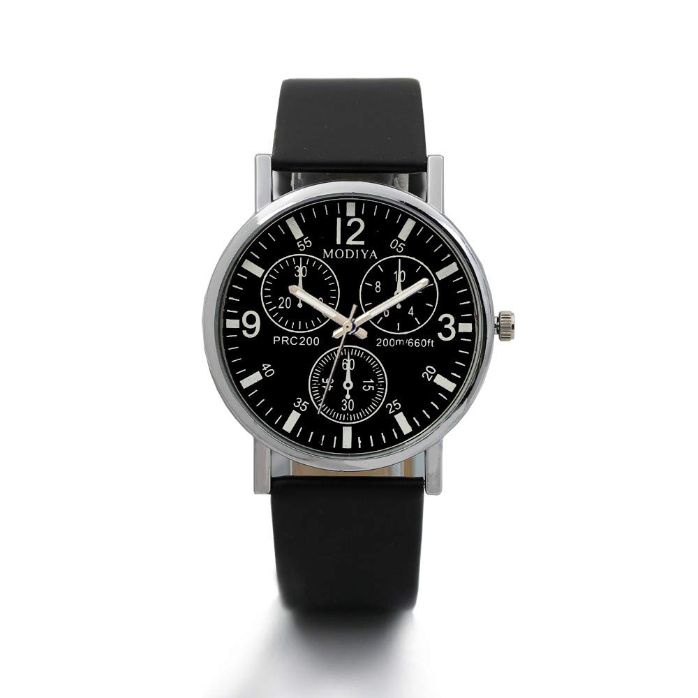 1pcs Brown Casual Mens Womens 3 Eyes Big Dial Quartz Wrist Watches (Black)