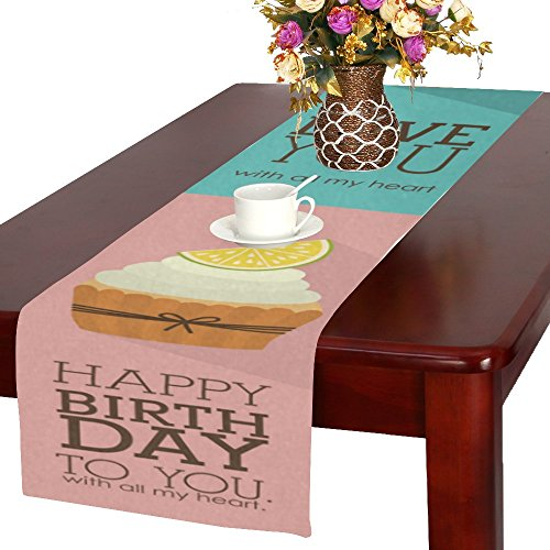 Artsadd ADEDIY Decorative Table Runner Happy Birthday Lemo Cake Table Runner 16x72 inch Custom Table Decor Cloth for Holidays Party Event ()