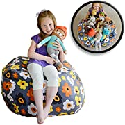 EXTRA LARGE Stuff 'n Sit - Stuffed Animal Storage Bean Bag Cover by Creative QT - Available in 2 Sizes and 5 Patterns - Clean up the Room and Put Those Critters to Work for You! (38 , Grey Floral)