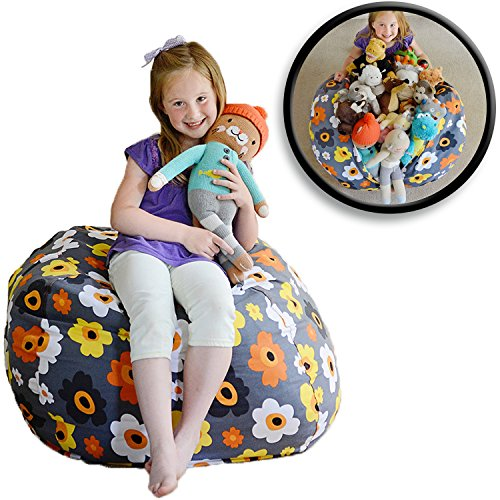 Large Floral Pattern - Creative QT EXTRA LARGE Stuff 'n Sit - Stuffed Animal Storage Bean Bag Chair for Kids - Pouf Ottoman for Toy Storage - Available in 2 Sizes and 5 Patterns (38