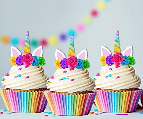 (Unicorn Rainbow Horn Edible Cupcake Cake Toppers x15 birthday baby shower, 1st birthday, girls)
