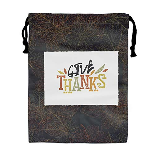 Give Thanks Postcard Happy Thanksgiving Greeting Drawstring Bag Sequin Party Favors Backpack Gift for Girl