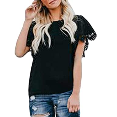 25b3d2ae vermers Womens Sexy Lace Patchwork Short Sleeve T Shirts Tops Summer Casual  Solid Insert Ruffle Front