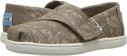 TOMS Kids Baby Girl's Alpargata (Infant/Toddler/Little Kid) Desert Taupe Foil Feathers 9 Toddler M by TOMS