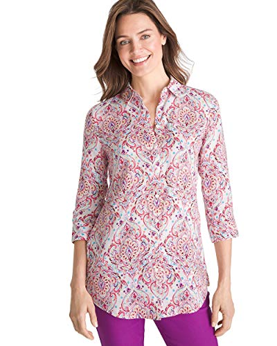 Chico's Women's No-Iron Linen Scroll-Print Side-Button Tunic Size 16/18 XL (3) Red