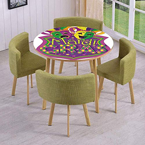 SINOVAL Fashion Round Table/Wall/Floor Decal Strikers/Removable/Comedy and Tragedy Masks with Festive Mardi Gras Carnival Blazon Design Decorative ()