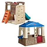 Step2 Backyard Playset Combo for Kids - Durable Cottage Playhouse and Climber Slide Set
