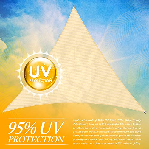 Royal Shade Custom Size Order To Make Sun Shade Sail Canopy Mesh Fabric UV Block Triangle – Commercial Standard Heavy Duty – 200 GSM – 5 Years Warranty 28 x 28 x 28 , Beige