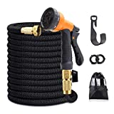 Y YOOMALL Expandable Garden Hose, 75 feet, Extra Strength Fabric, 3/4' Solid Brass Fittings, Flexible Expanding Water Hose with 8 Function Spray Nozzle, Lightweight Expanding Hose kit (75)