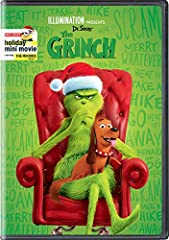 Illumination Presents: Dr. Seuss' The Grinch (cover may vary). Illumination and Universal Pictures present The Grinch, based on Dr. Seuss' beloved classic. The Grinch tells the story of a cynical grump who goes on a mission to steal Christmas...