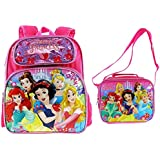 "Disney Princesses 12"" Embossed Backpack with Matching Insulated Lunch Tote"