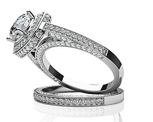14K Or blanc lumineux de mariage Diamant
