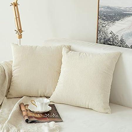 MIULEE Pack de 2, Pana Suave Juego de Mesa de Manta de decoración Cuadrado Fundas de Almohada Funda de cojín para sofá Dormitorio Car18 X 18 (45 x 45 cm): Amazon.es: Hogar