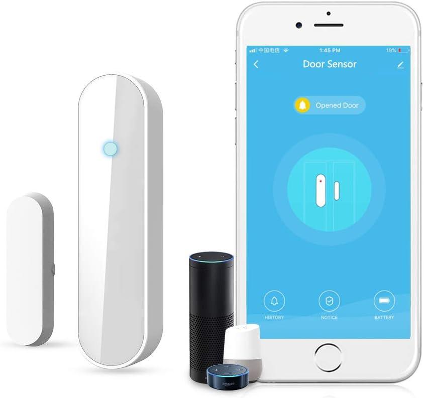 Wi-Fi sensor de puerta/ventana alertas APP sensor de seguridad para el hogar, El detector de sensor de imán de puerta de ventana inteligente funciona con Alexa Google Home IFTTT