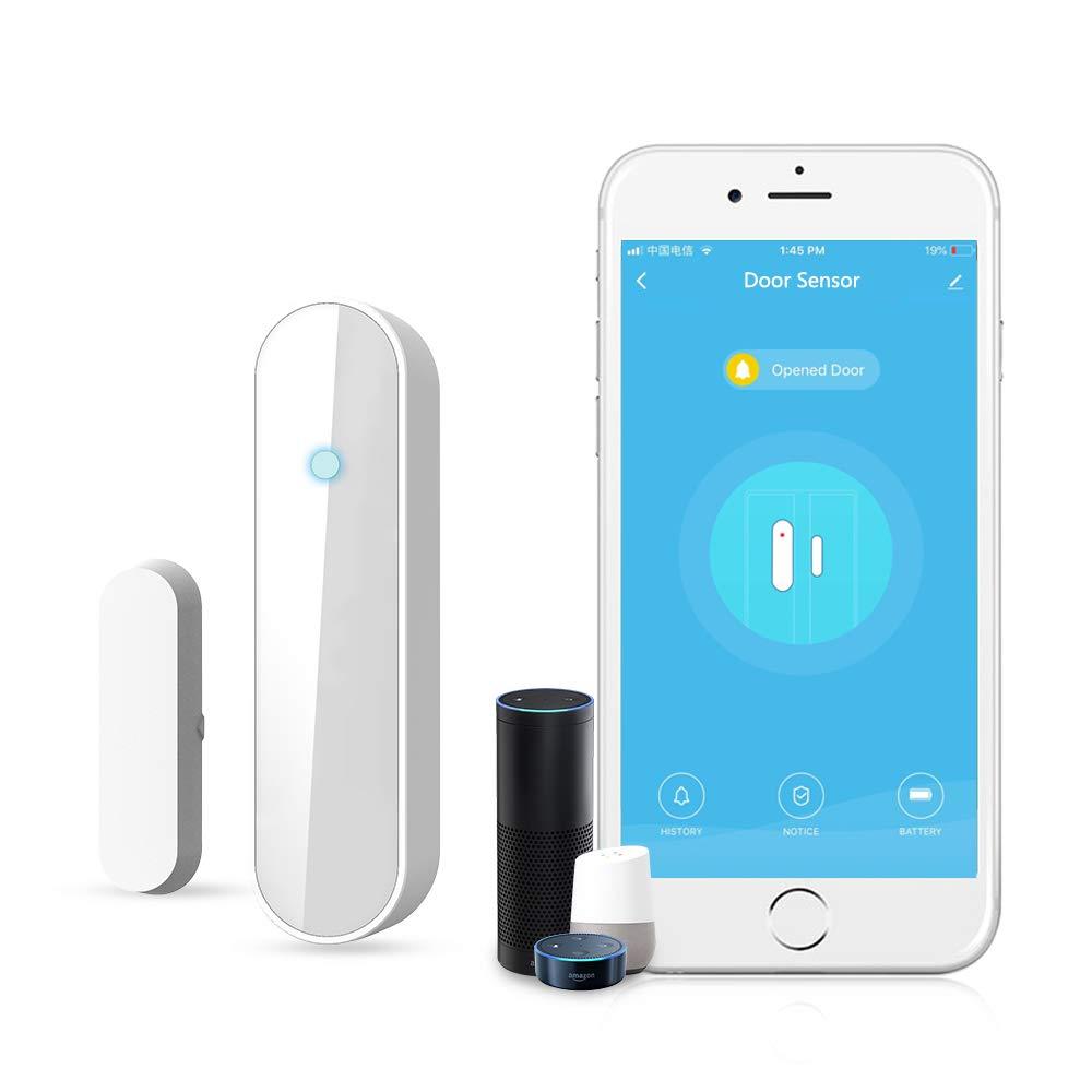 Wi-Fi sensor de puerta//ventana alertas APP sensor de seguridad para el hogar El detector de sensor de im/án de puerta de ventana inteligente funciona con Alexa Google Home IFTTT