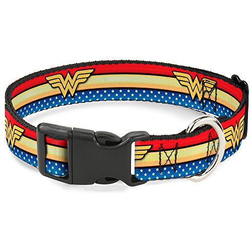 Buckle Down Cat Collar Breakaway Wonder Woman Logo Stripe Stars Red Gold Blue White 8 to 12 Inches 0.5 Inch Wide