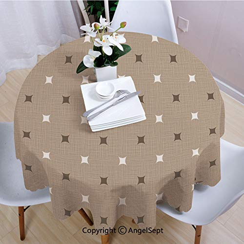 AngelSept Polyester Round Tablecloth,Modern Star Figures Over Vintage Earthen Toned Fabric Pattern Artsy Image Decorative,55